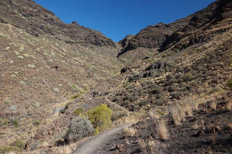 Wanderweg bergauf zur Degollada de Aguas Sabinas, Südwesten Gran Canaria