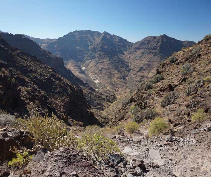 Blick vom Wanderweg in das Tal von Tasartico
