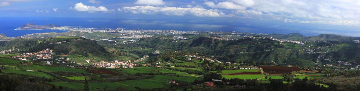 Panoramafoto, Nordosten von Gran Canaria mit Las Palmas im Hintergrund