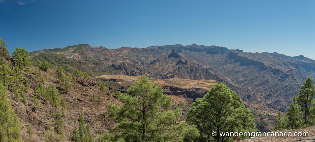 Blick über die Kanarischen Kiefern ins Zentrum von Gran Canaria. Zu sehen die Hochebene von Acusa, der Roque Bentaiga und im Hintergrund der Roque Nublo