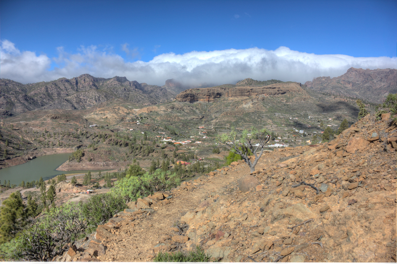 Chira Stausee und Wolken über dem Zentrum von Gran Canaria