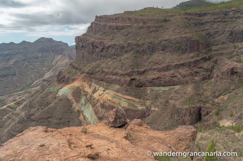 Felsplateau und mehrfarbiges Gestein im Südwesten von Gran Canaria